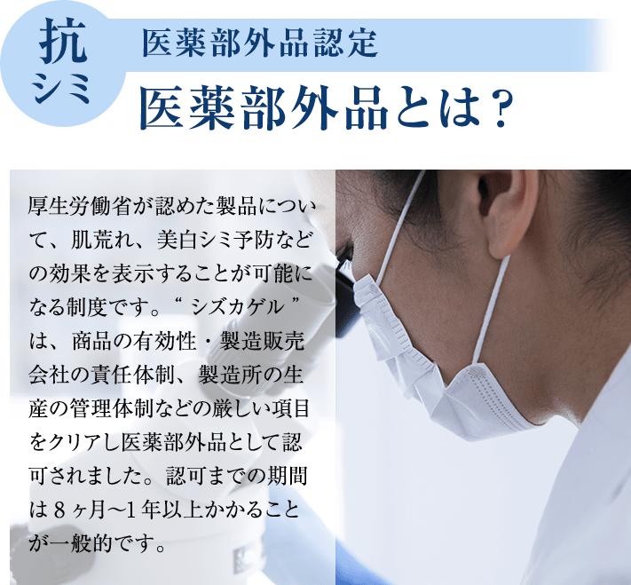 """抗シミ 医薬部外品認定 医薬部外品とは? 厚生労働省が認めた製品について、肌荒れ、美白シミ予防などの効果を表示することが可能になる制度です。""""シズカゲル""""は、商品の有効性・製造販売会社の責任体制、製造所の生産の管理体制などの厳しい項目をクリアし医薬部外品として認可されました。認可までの期間は8ヶ月?1年以上かかることが一般的です。"""