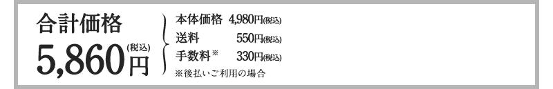 通常価格4,980円(税込)+送料500円(+税)+手数料(+税)